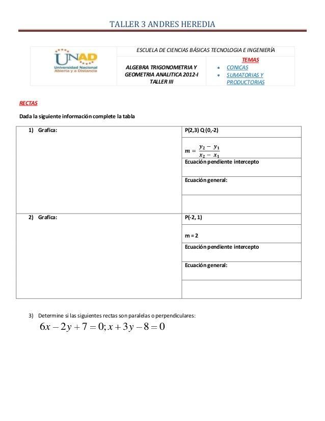 TALLER 3 ANDRES HEREDIAESCUELA DE CIENCIAS BÁSICAS TECNOLOGIA E INGENIERÍAALGEBRA TRIGONOMETRIA YGEOMETRIA ANALITICA 2012-...