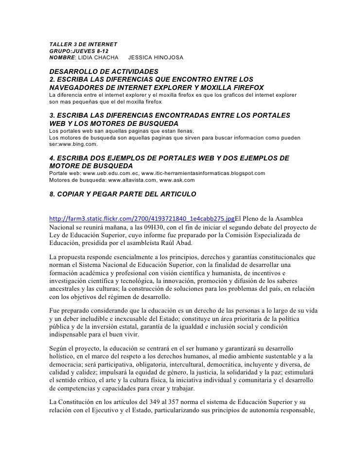 TALLER 3 DE INTERNETGRUPO:JUEVES 8-12NOMBRE: LIDIA CHACHA            JESSICA HINOJOSADESARROLLO DE ACTIVIDADES2. ESCRIBA L...