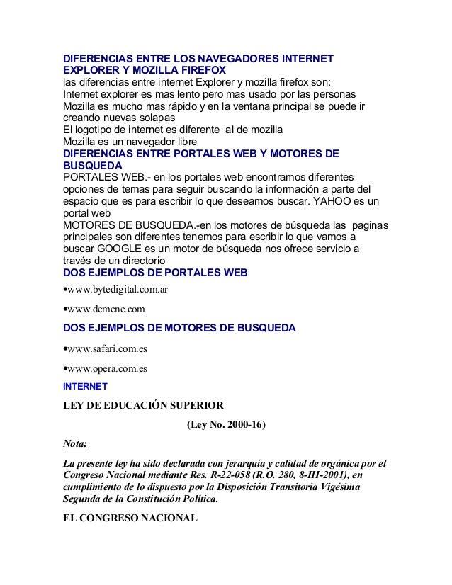 DIFERENCIAS ENTRE LOS NAVEGADORES INTERNET EXPLORER Y MOZILLA FIREFOX las diferencias entre internet Explorer y mozilla fi...