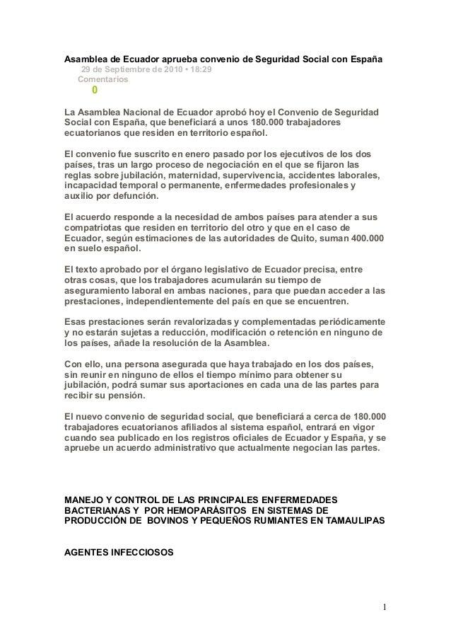 Asamblea de Ecuador aprueba convenio de Seguridad Social con España 29 de Septiembre de 2010 • 18:29 Comentarios 0 La Asam...