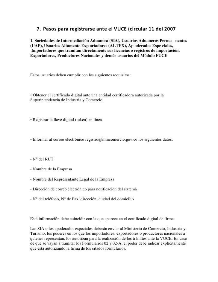 Pasos para registrarse ante el VUCE (circular 11 del 2007<br />1. Sociedades de Intermediación Aduanera (SIA), Usuarios Ad...
