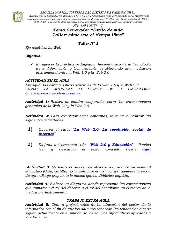ESCUELA NORMAL SUPERIOR DEL DISTRITO DE BARRANQUILLA  Acreditación de Calidad según Resolución No. 4095 del 10 de noviembr...