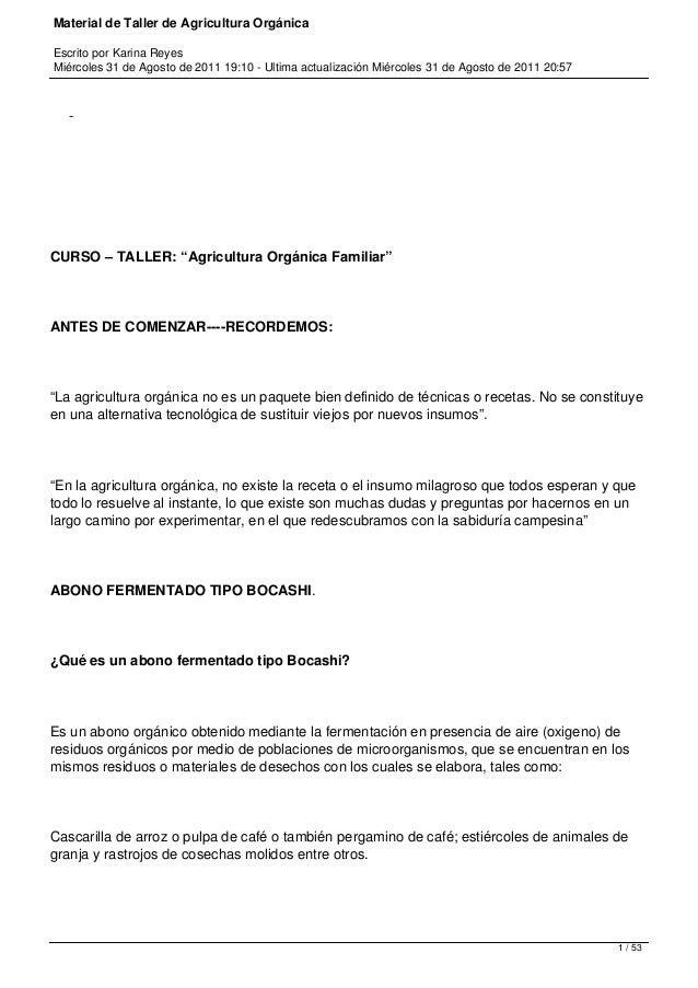 Material de Taller de Agricultura Orgánica Escrito por Karina Reyes Miércoles 31 de Agosto de 2011 19:10 - Ultima actualiz...