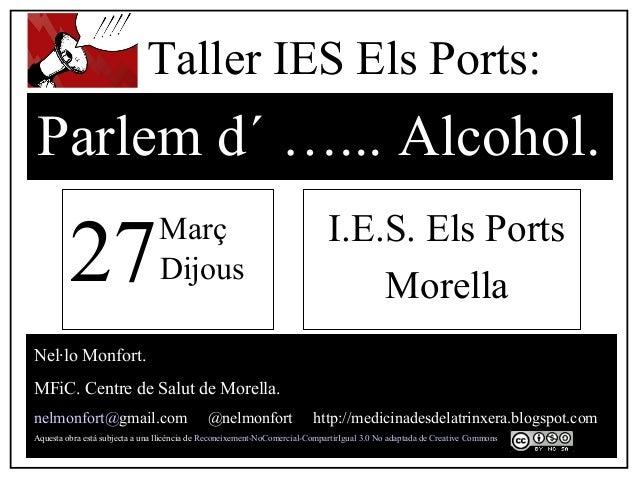 Taller alcohol ies els ports 27 3-14