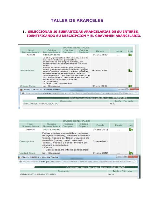 TALLER DE ARANCELES 1. SELECCIONAR 10 SUBPARTIDAS ARANCELARIAS DE SU INTERÉS, IDENTIFICANDO SU DESCRIPCIÓN Y EL GRAVAMEN A...
