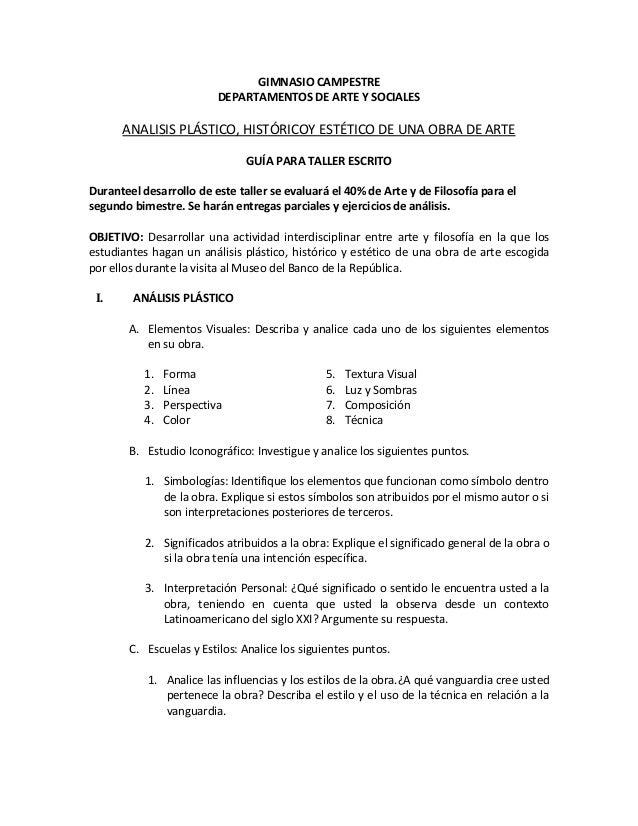 GIMNASIO CAMPESTREDEPARTAMENTOS DE ARTE Y SOCIALESANALISIS PLÁSTICO, HISTÓRICOY ESTÉTICO DE UNA OBRA DE ARTEGUÍA PARA TALL...