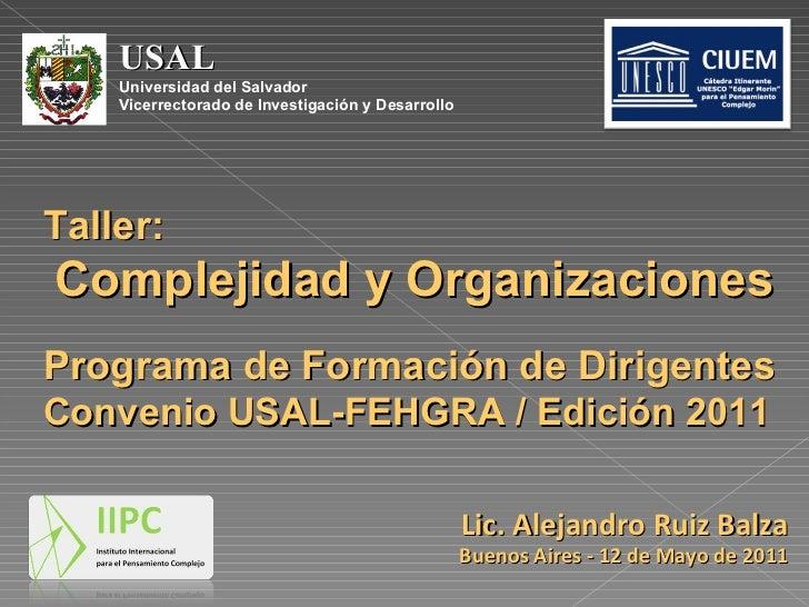 USAL  Universidad del Salvador Vicerrectorado de Investigación y Desarrollo Taller: Complejidad y Organizaciones Programa ...