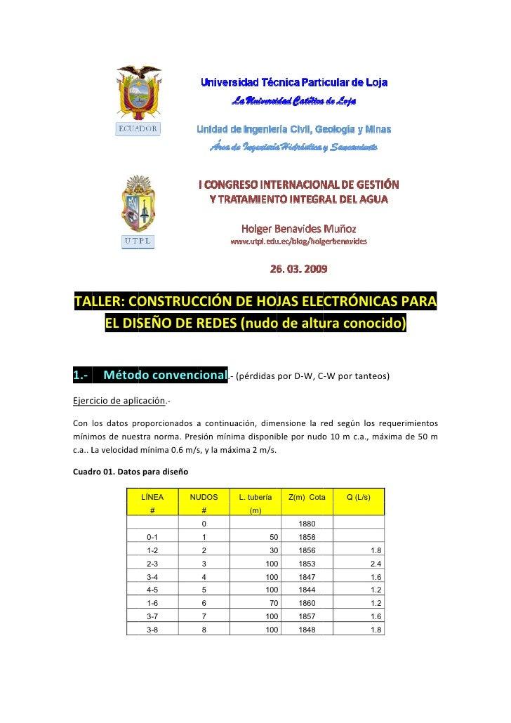 TALLER: CO          ONSTRUUCCIÓN DE HOJ ELECTRÓNICAS PA                     N       JAS                ARA     EL DIS     ...