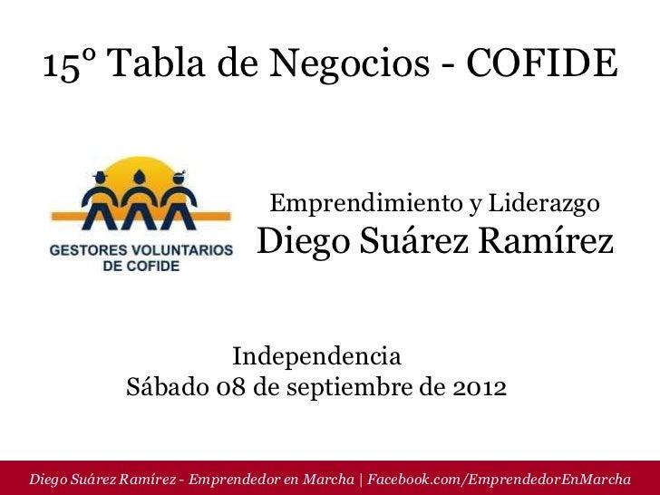 15° Tabla de Negocios - COFIDE                               Emprendimiento y Liderazgo                             Diego ...