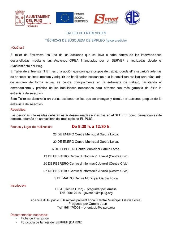 Regidoria de Foment de               l'Ocupació                                                 TALLER DE ENTREVISTES     ...