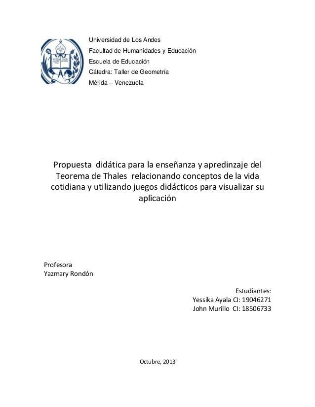Universidad de Los Andes Facultad de Humanidades y Educación Escuela de Educación Cátedra: Taller de Geometría Mérida – Ve...
