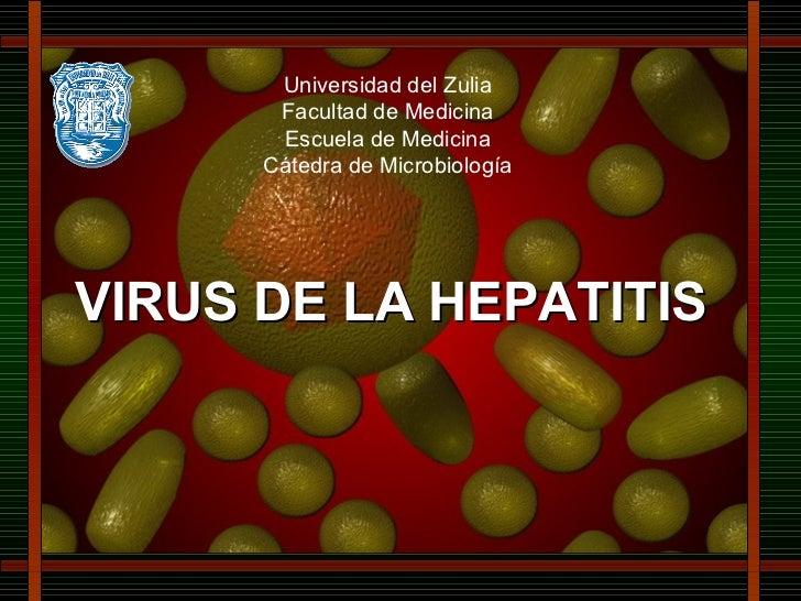 Universidad del Zulia Facultad de Medicina Escuela de Medicina Cátedra de Microbiología VIRUS DE LA HEPATITIS
