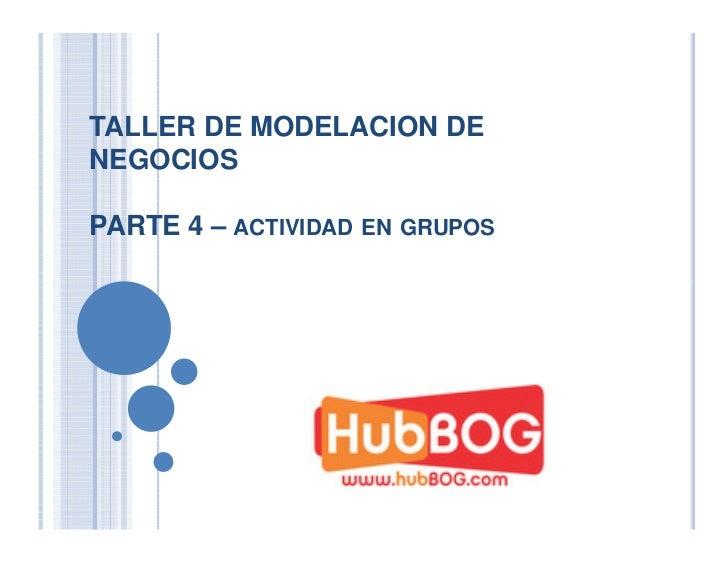 TALLER DE MODELACION DENEGOCIOSPARTE 4 – ACTIVIDAD EN GRUPOS
