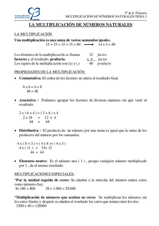 5º de E. Primaria MULTIPLICACIÓN DE NÚMEROS NATURALES-TEMA 3 LA MULTIPLICACIÓN DE NÚMEROS NATURALES LA MULTIPLICACIÓN Una ...