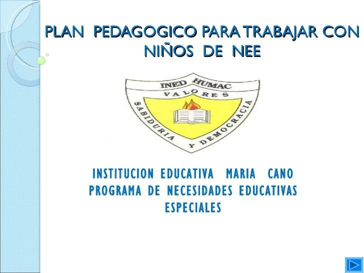 PLAN PEDAGOGICO PARA TRABAJAR CON          NIÑOS DE NEE     INSTITUCION EDUCATIVA MARIA CANO    PROGRAMA DE NECESIDADES ED...