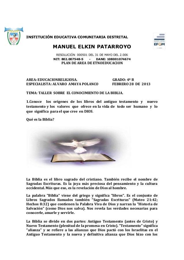 INSTITUCIÓN EDUCATIVA COMUNITARIA DISTRITAL                MANUEL ELKIN PATARROYO                    RESOLUCIÓN 000501 DEL...
