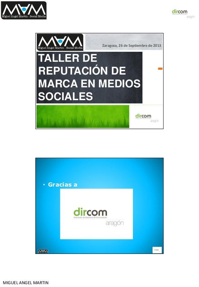 """Taller Social Media Training Dircom Aragón: """"Gestión de la reputación en medios sociales"""""""
