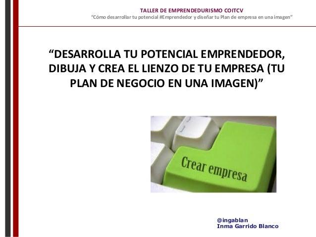 """TALLER  DE  EMPRENDEDURISMO  COITCV   """"Cómo  desarrollar  tu  potencial  #Emprendedor  y  diseñar ..."""