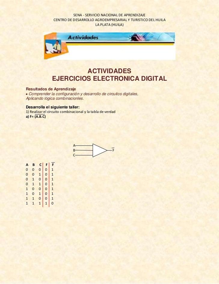 ACTIVIDADES<br />EJERCICIOS ELECTRONICA DIGITAL<br />Resultados de Aprendizaje<br />Comprender la configuración y desarr...