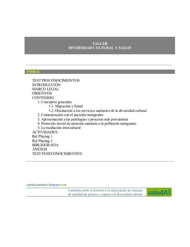 TALLER                                DIVERSIDAD CULTURAL Y SALUDÍNDICE    TEST PRECONOCIMIENTOS    INTRODUCCIÓN    MARCO ...