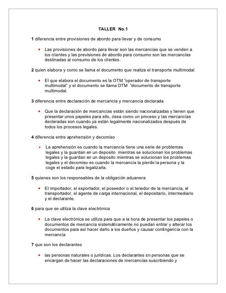 TALLER No.1  1 diferencia entre provisiones de abordo para llevar y de consumo     •   Las provisiones de abordo para llev...