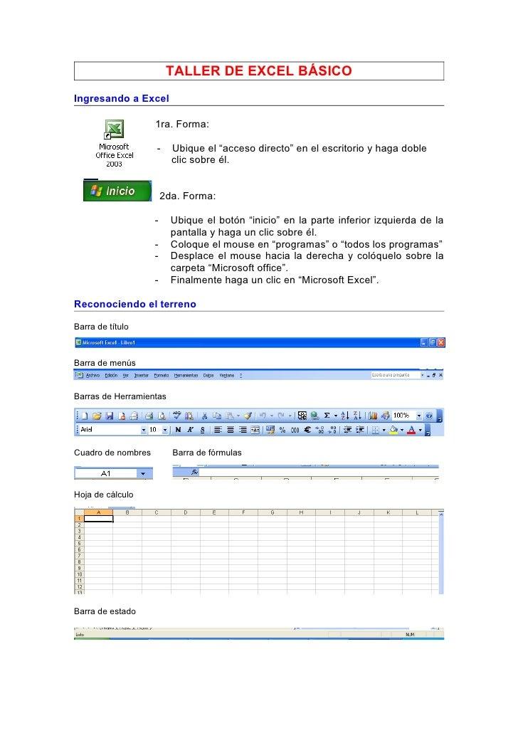 """TALLER DE EXCEL BÁSICO Ingresando a Excel                      1ra. Forma:                      -     Ubique el """"acceso di..."""