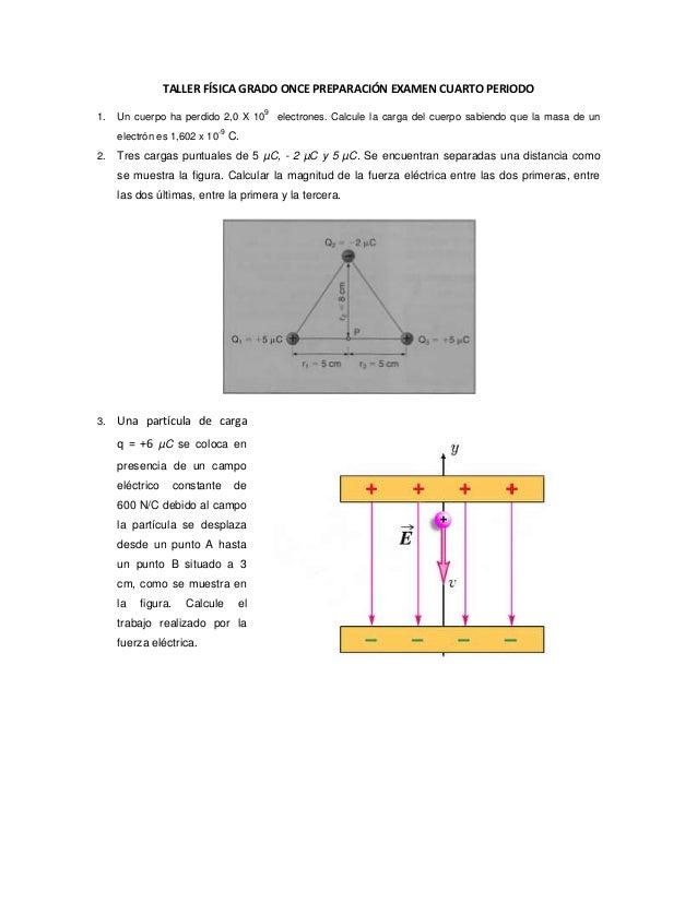Taller física grado once preparación examen cuarto periodo