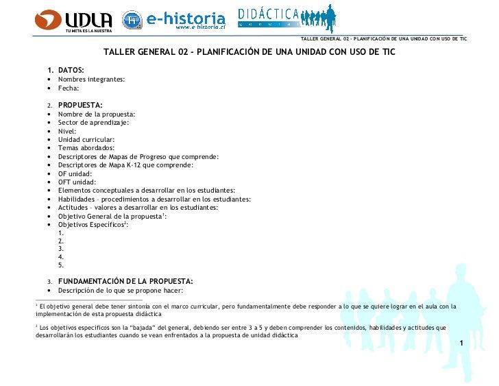 Taller General 02 - Planificación de una Unidad con Uso de TIC