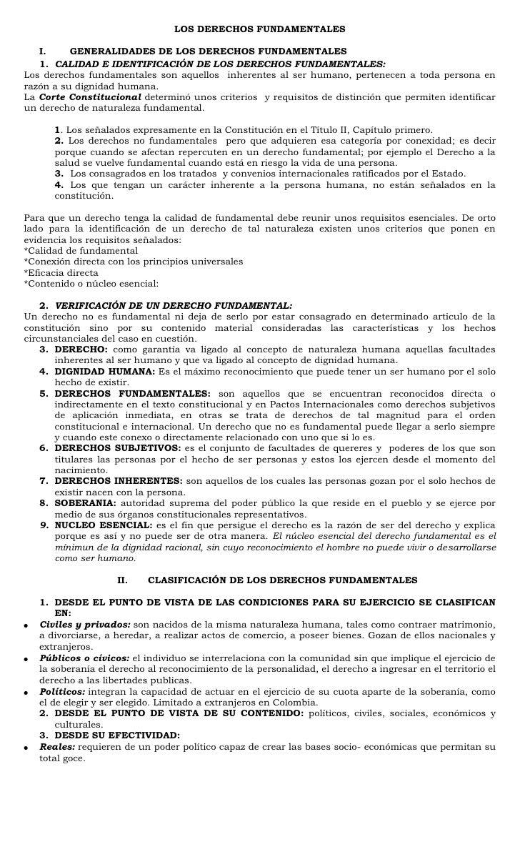 LOS DERECHOS FUNDAMENTALES<br />GENERALIDADES DE LOS DERECHOS FUNDAMENTALES <br />CALIDAD E IDENTIFICACIÓN DE LOS DERECHOS...