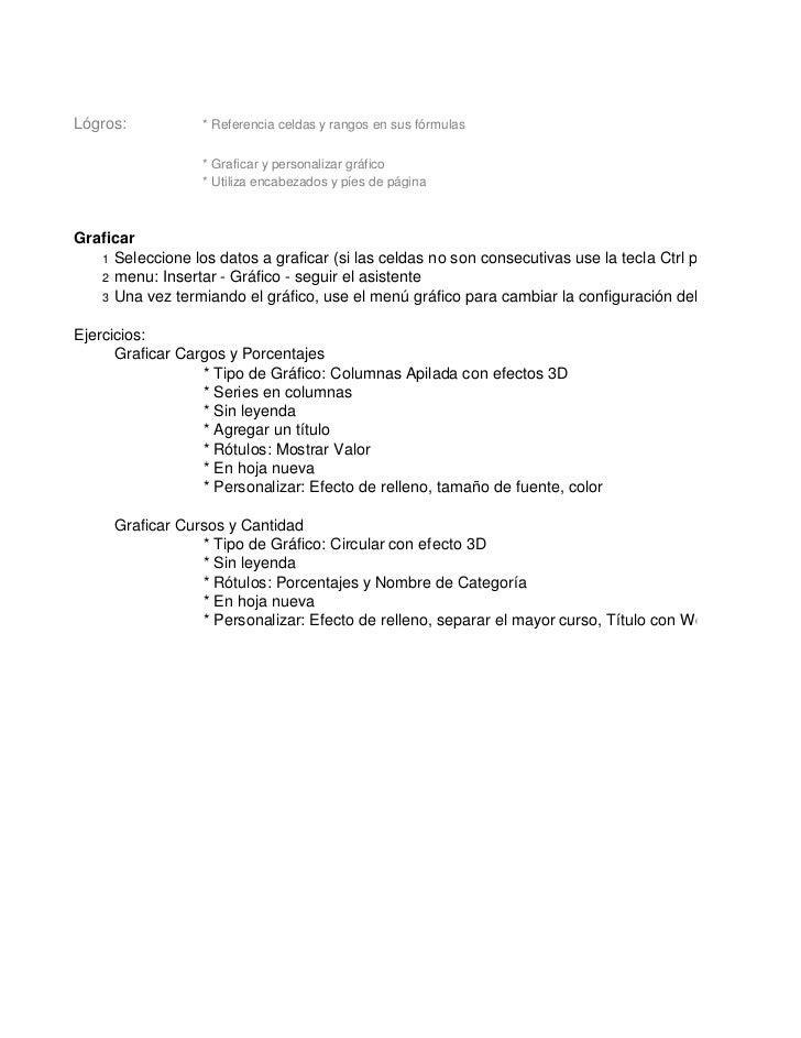 Lógros:           * Referencia celdas y rangos en sus fórmulas                  * Graficar y personalizar gráfico         ...