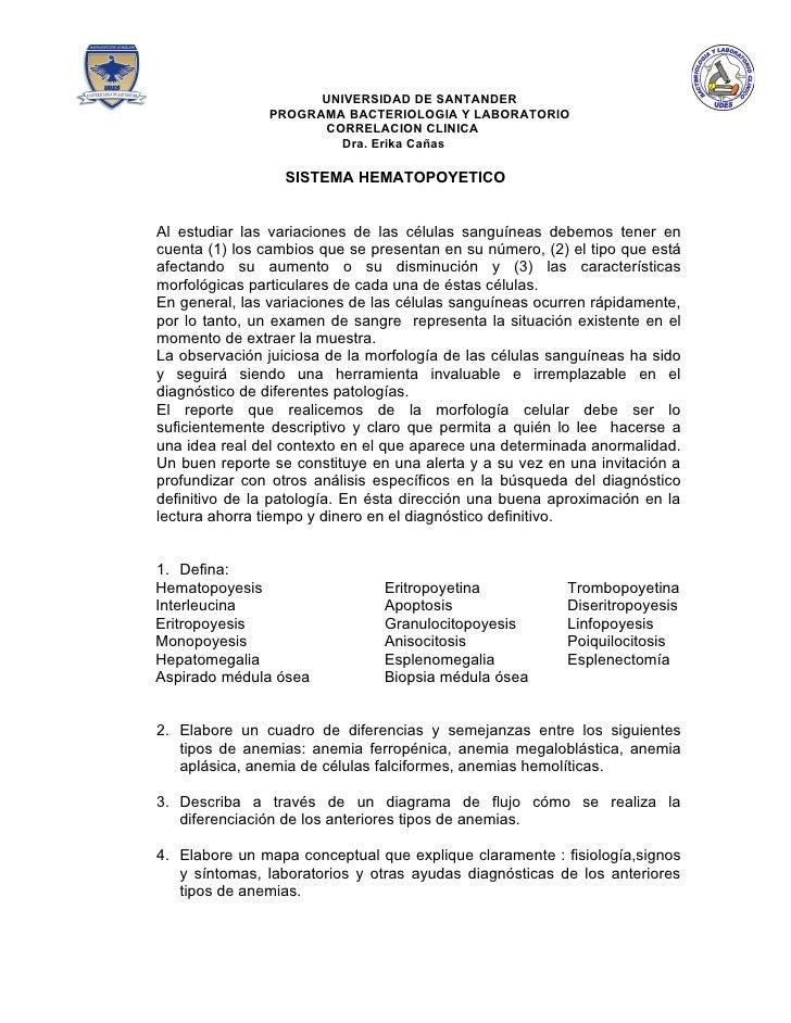 UNIVERSIDAD DE SANTANDER               PROGRAMA BACTERIOLOGIA Y LABORATORIO                     CORRELACION CLINICA       ...