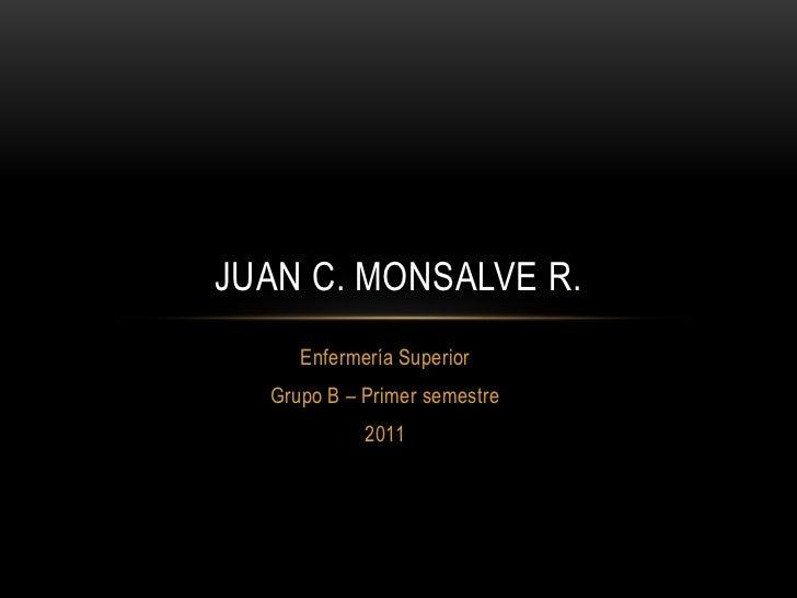 Enfermería Superior<br />Grupo B – Primer semestre<br />2011<br />Juan C. Monsalve R.<br />