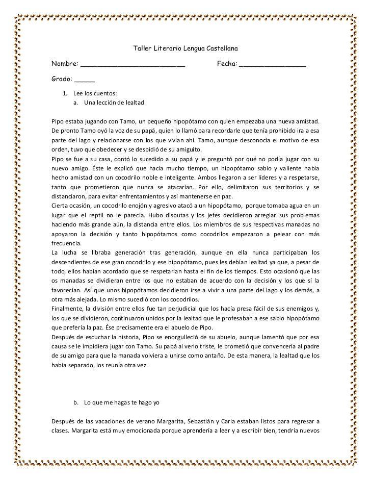 Taller Literario Lengua CastellanaNombre: _________________________                            Fecha: ________________Grad...