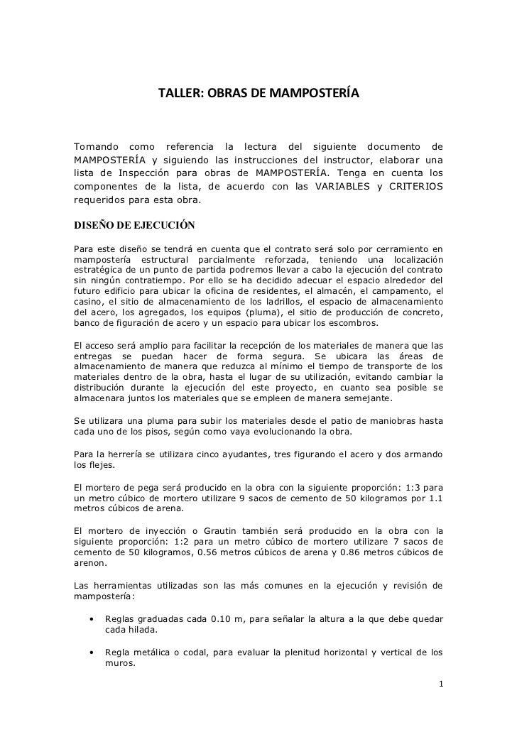 TALLER: OBRAS DE MAMPOSTERÍATomando como referencia la lectura del siguiente documento deMAMPOSTERÍA y siguiendo las instr...