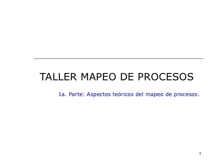 TALLER MAPEO DE PROCESOS  1a. Parte: Aspectos teóricos del mapeo de procesos.                                             ...