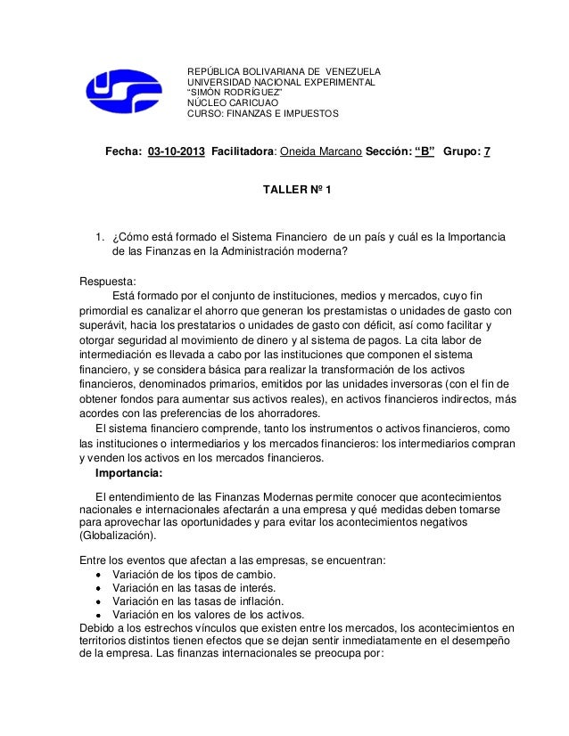 "REPÚBLICA BOLIVARIANA DE VENEZUELA UNIVERSIDAD NACIONAL EXPERIMENTAL ""SIMÓN RODRÍGUEZ"" NÚCLEO CARICUAO CURSO: FINANZAS E I..."