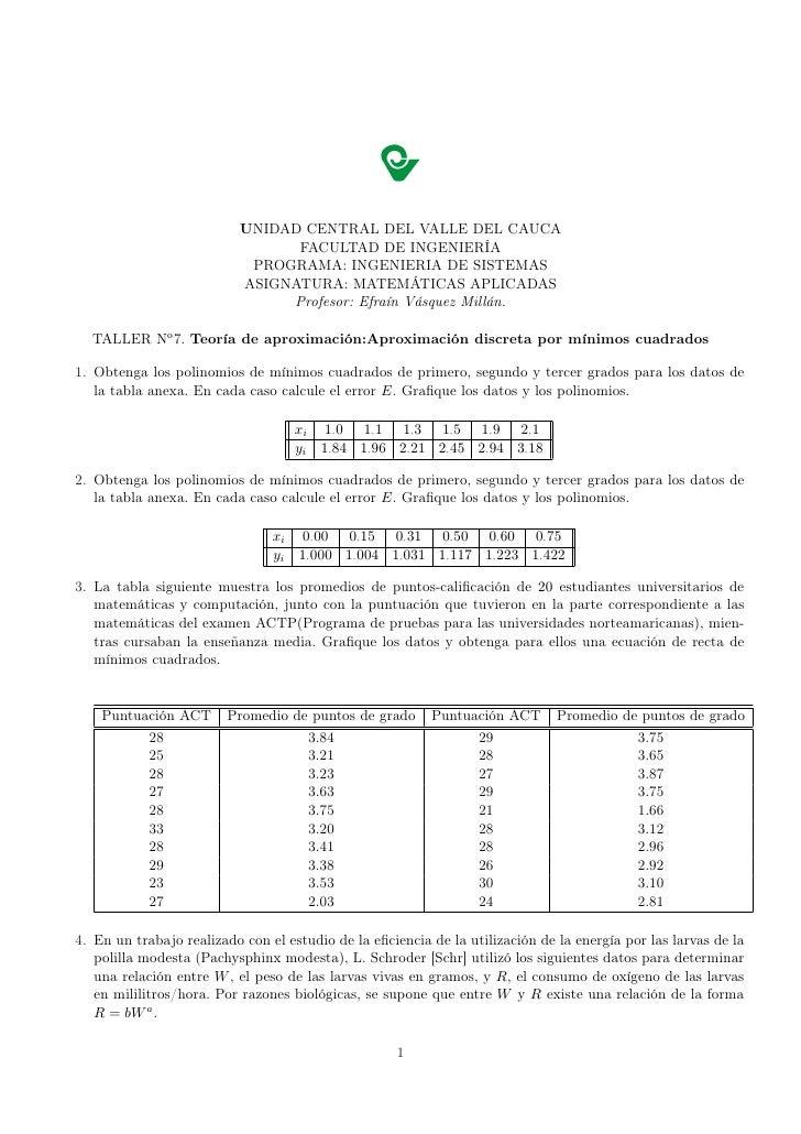 Taller N°7 TeríA De AproximacióN F J2009