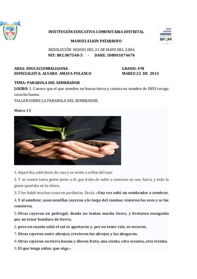 INSTITUCIÓN EDUCATIVA COMUNITARIA DISTRITAL                                    MANUEL ELKIN PATARROYO                     ...