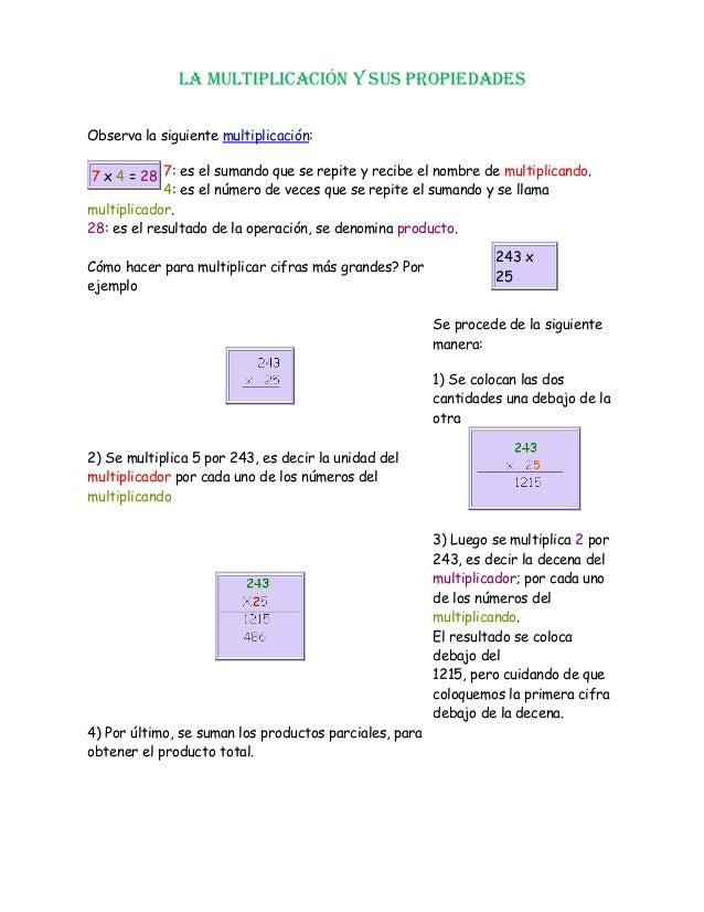 LA MULTIPLICACIÓN Y SUS PROPIEDADES Observa la siguiente multiplicación: 7: es el sumando que se repite y recibe el nombre...