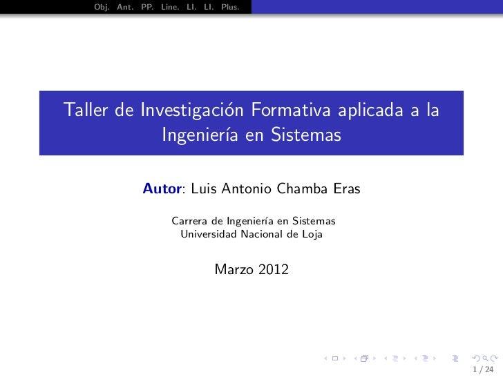 Taller de Investigacion Formativa Carrera de Ingenieria en Sistemas