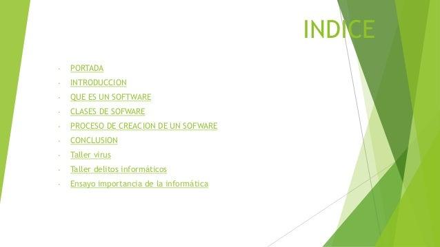 INDICE -  PORTADA  -  INTRODUCCION  -  QUE ES UN SOFTWARE  -  CLASES DE SOFWARE  -  PROCESO DE CREACION DE UN SOFWARE  -  ...