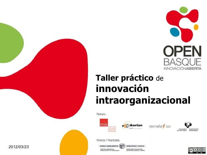 Taller práctico de             innovación             intraorganizacional2012/03/23