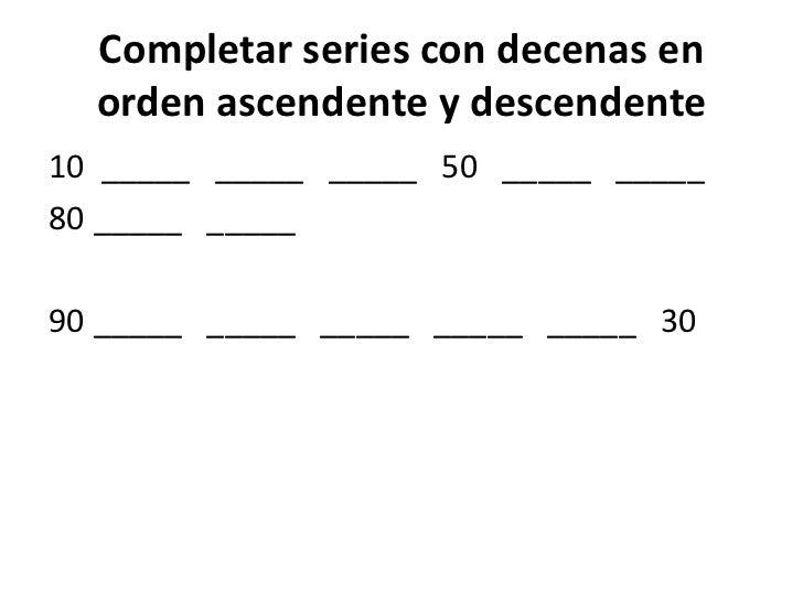Resultado de imagen de completar series con decenas