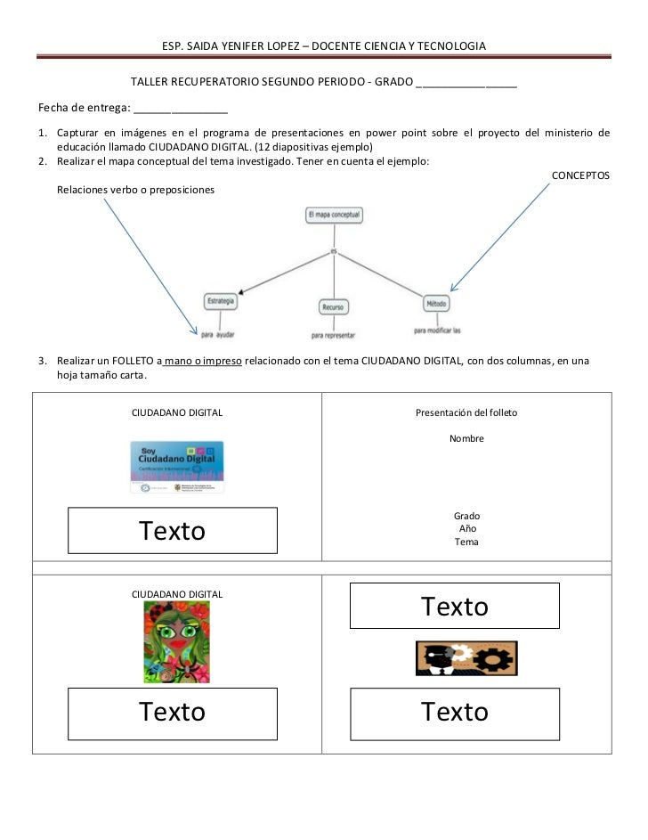 ESP. SAIDA YENIFER LOPEZ – DOCENTE CIENCIA Y TECNOLOGIA                 TALLER RECUPERATORIO SEGUNDO PERIODO - GRADO _____...