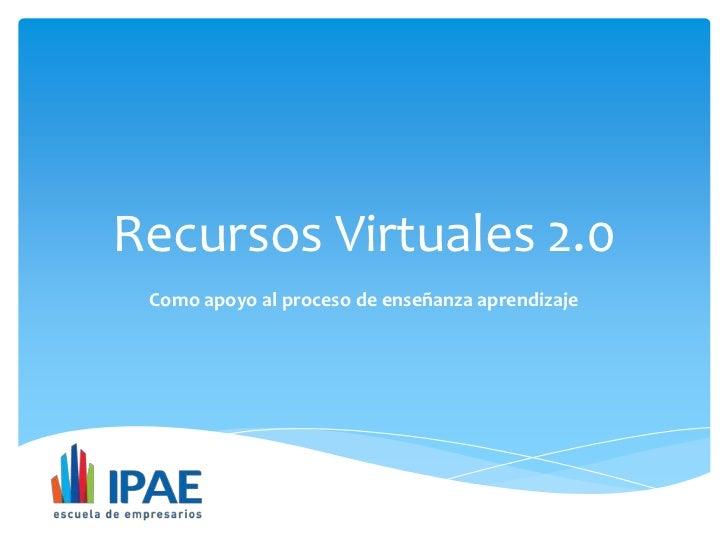 Recursos Virtuales 2.0 Como apoyo al proceso de enseñanza aprendizaje