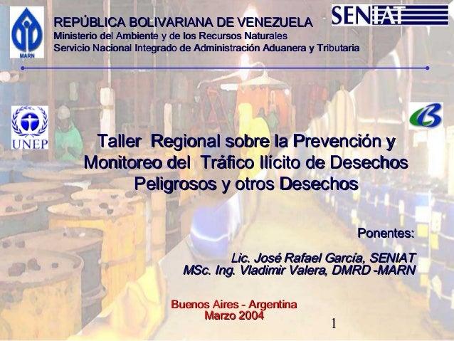 REPÚBLICA BOLIVARIANA DE VENEZUELAMinisterio del Ambiente y de los Recursos NaturalesServicio Nacional Integrado de Admini...
