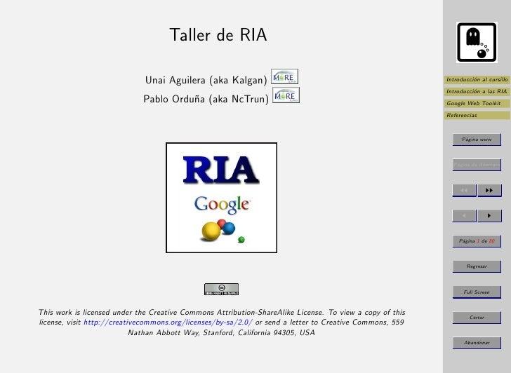 Taller de RIA                                Unai Aguilera (aka Kalgan)                                                  I...