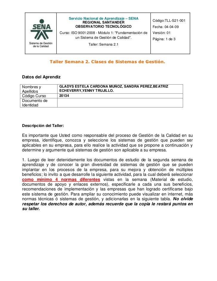 TALLER SEMANA 2 CLASES DE SISTEMAS DE GESTIÓN DE LA CALIDAD