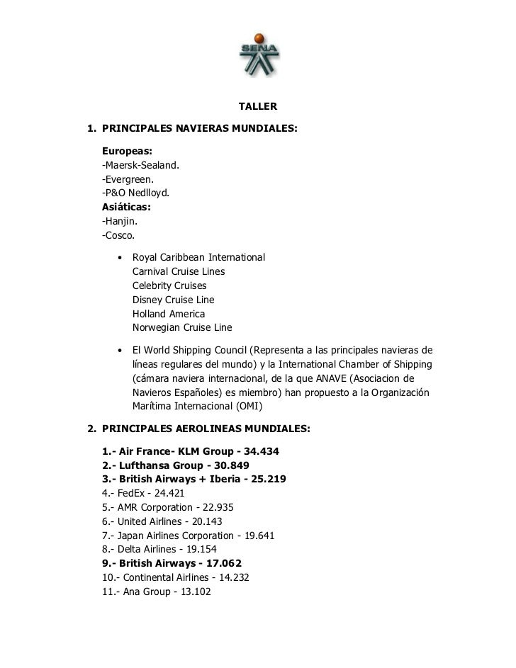 TALLER1. PRINCIPALES NAVIERAS MUNDIALES:  Europeas:  -Maersk-Sealand.  -Evergreen.  -P&O Nedlloyd.  Asiáticas:  -Hanjin.  ...