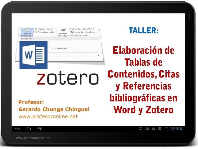 Taller: Elaboración de tablas de contenidos, citas y referencias bibliográficas